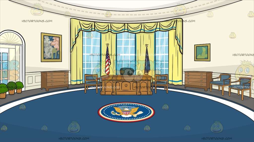 The Oval Office Background Cartoon Clipart.