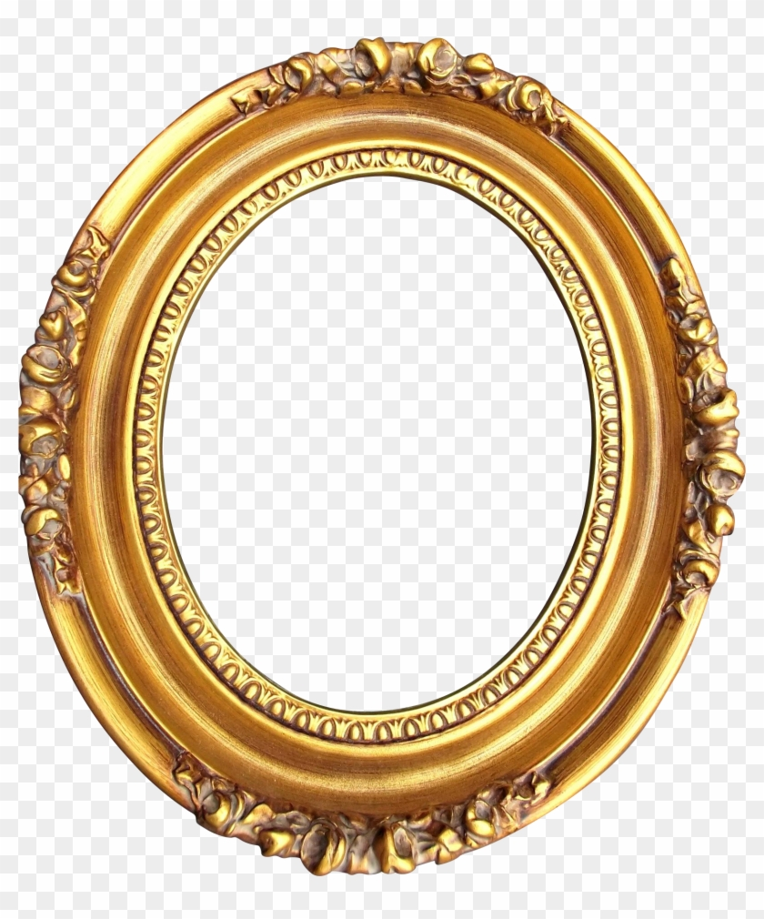 A Vintage Gold Washed Wood, Gesso Oval Frame With Roses.