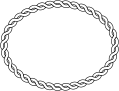 Rope Border Oval Clipart Graphic.