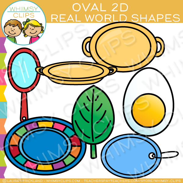 Oval 2D Shapes Real Life Objects Clip Art.