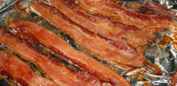 cooking bacon in the oven.