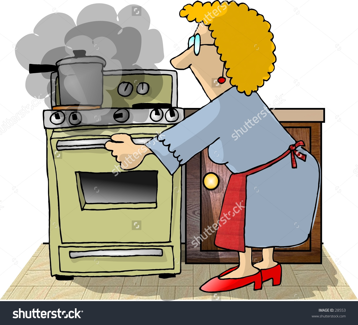 Clipart Illustration Woman Opening Oven Door Stock Illustration.