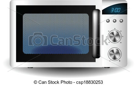 Clipart Vector of Microwave oven with closed door from front view.