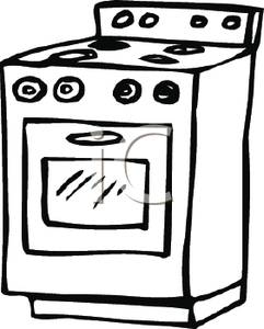 and White Oven and Stove Clipart Image.