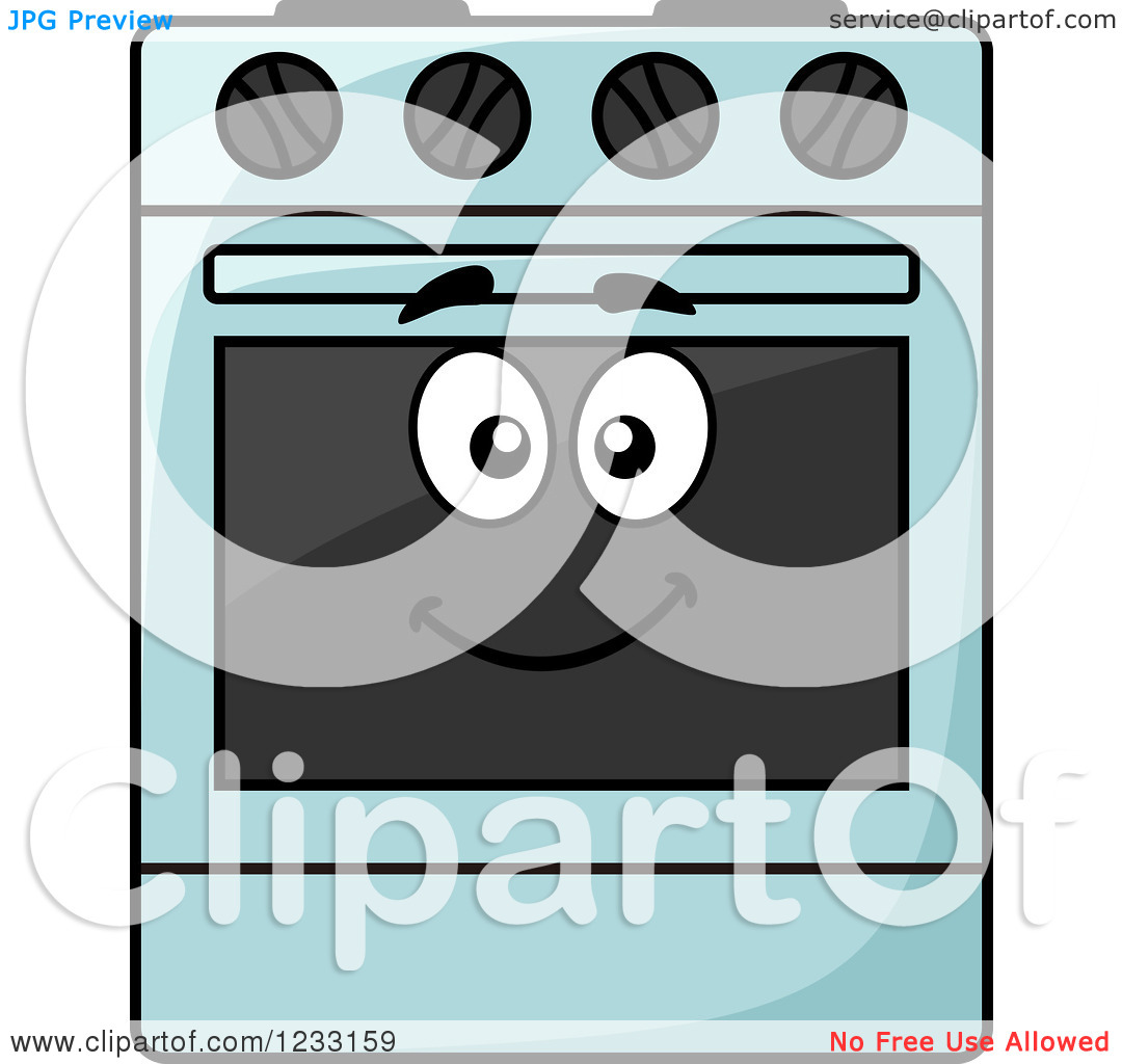Clipart of a Happy Blue Oven.