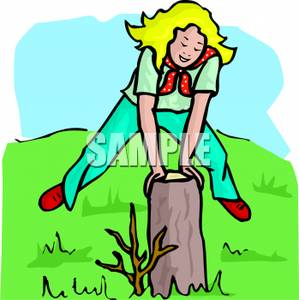 Girl Playing Leap Frog Over a Stump Clipart Picture.