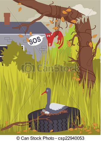 Clipart Vector of Messy yard.