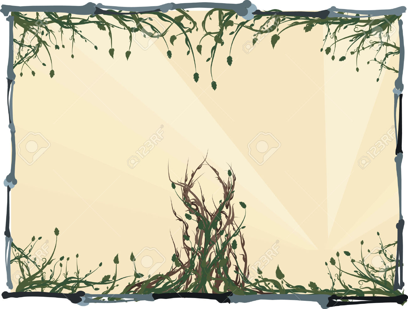 Overgrown Wild Roots And Leaves With A Bone Frame. Royalty Free.