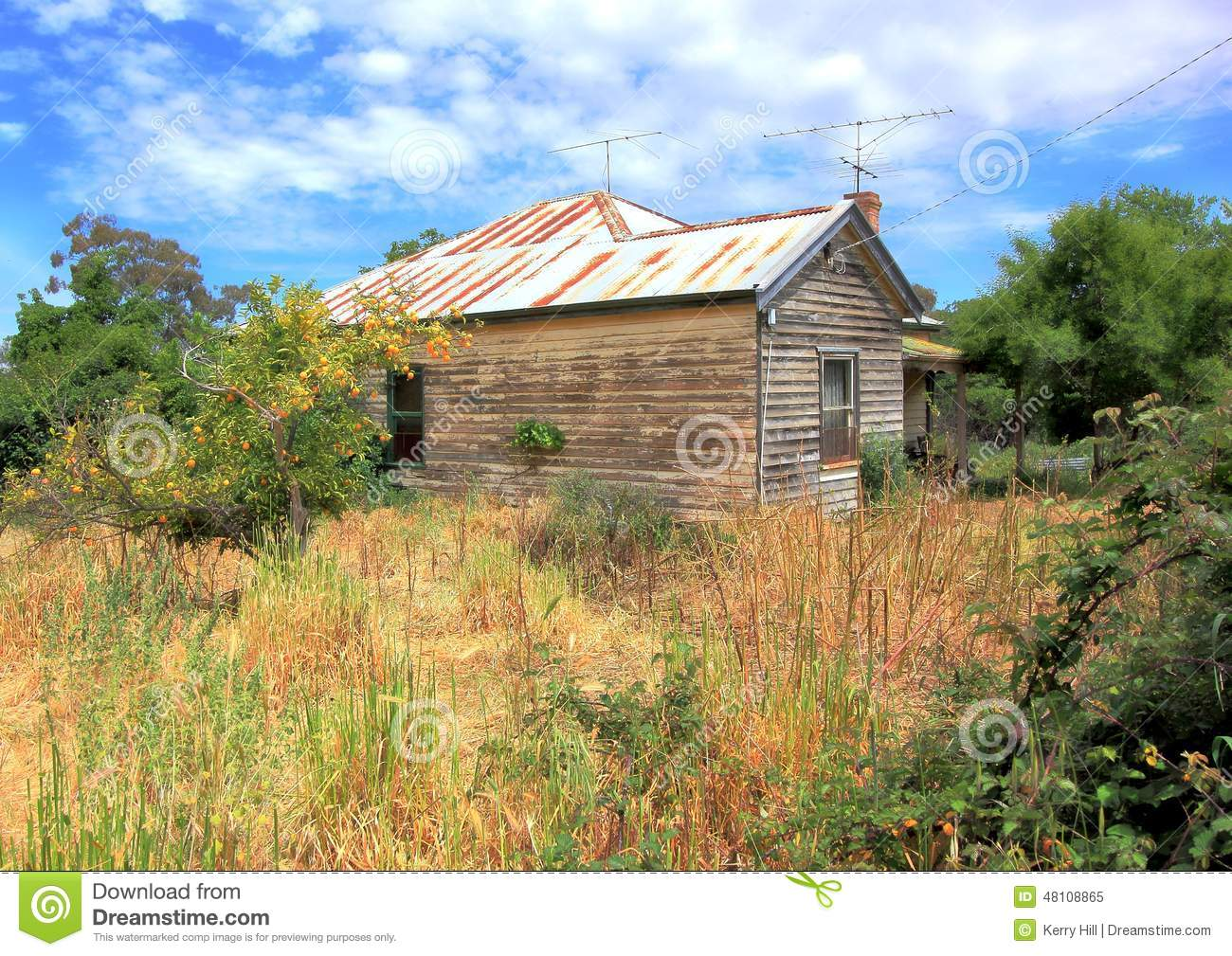 Old Run Down Country Wooden House In An Over Grown Bush Rural.