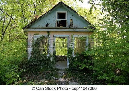 Pictures of an old abandoned house overgrown with csp11047086.