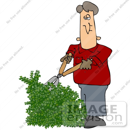 Clip Art Graphic of a Caucasian Man In A Red Jacket, Trimming An.