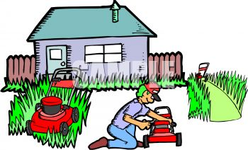 Royalty Free Clip Art Image: Man Fixing Lawnmowers.