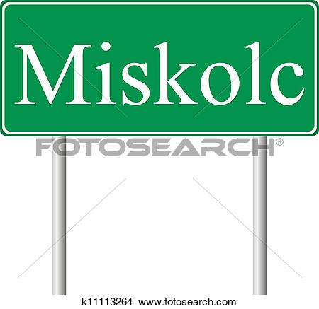 Clipart of Miskolc green road sign k11113264.