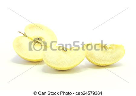 Pictures of Over ripe flesh yellow apple half and quarter sliced.