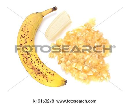 Pictures of Spotty, overripe banana with whole and mashed fruit.