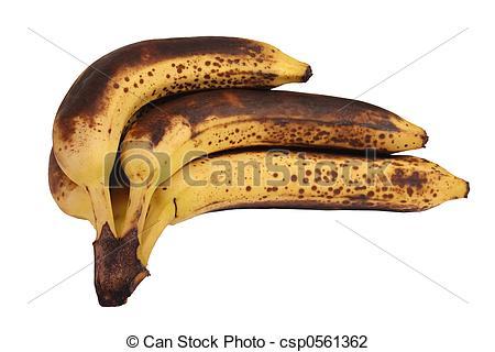 Stock Photo of Hand of overripe bananas.