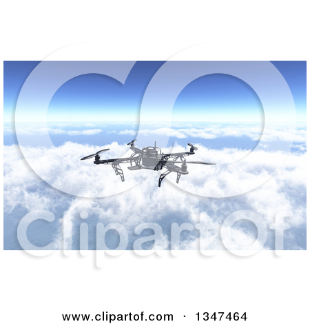 Clipart of a 3d Metal Quadcopter Drone Flying over the Clouds.