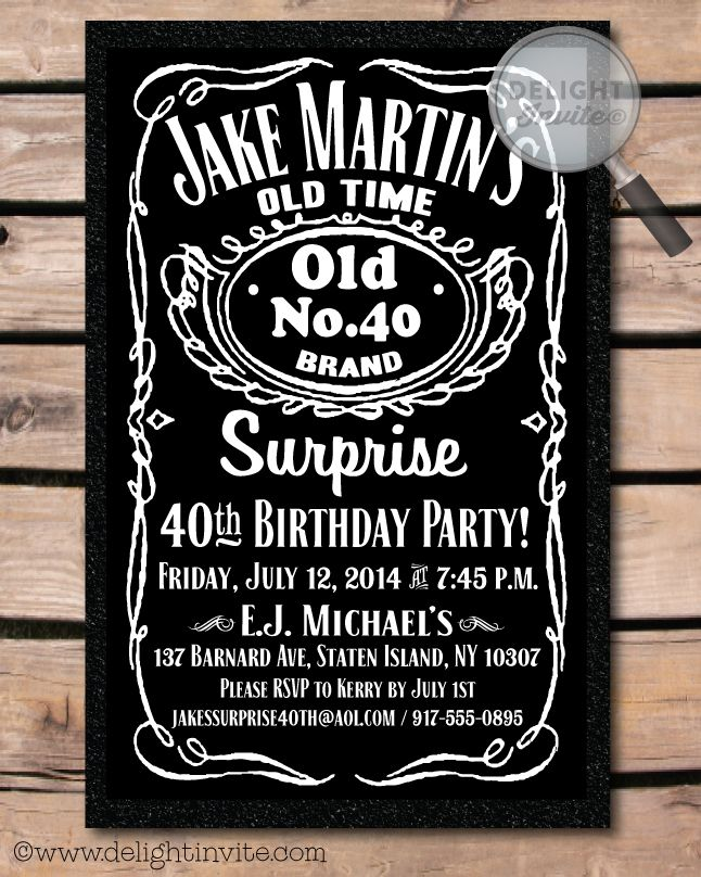 Over the Hill 40th Birthday Party Invitation.