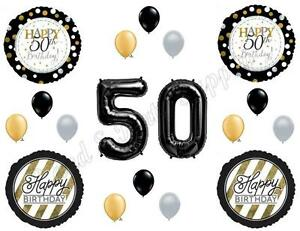 Details about 50th Fifty Happy Birthday Party Balloons Decoration Supplies  Over The Hill Black.