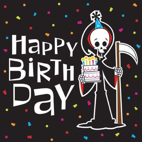 Over the hill clipart of the grim reaper wishing you a happy.