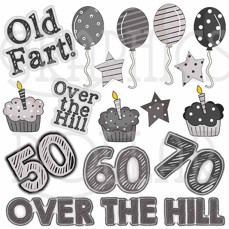 Over the Hill Birthday Clip Art.