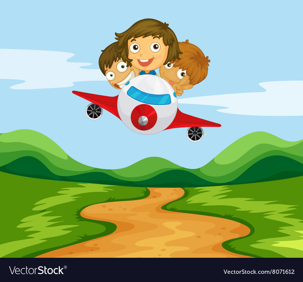 Three kids flying the plane over the hills.