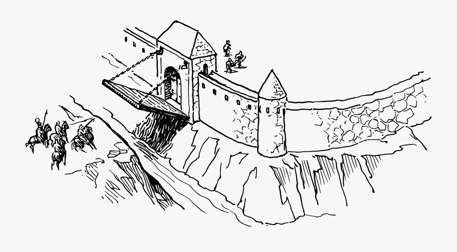 Castle With Moat And Drawbridge Clip Art , Png Download.