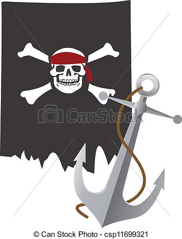 Vector Illustration of Pirate flag and anchor of the nave.