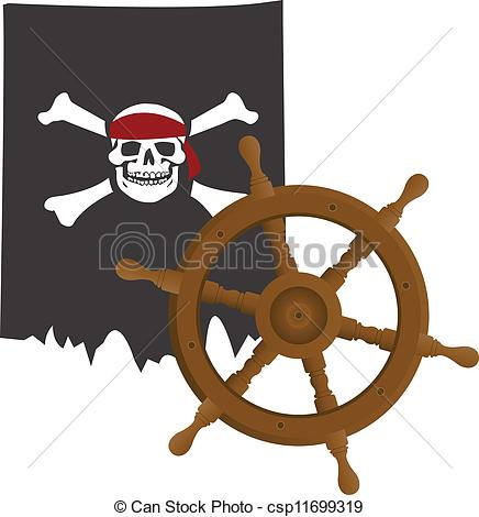 Vector Clip Art of Pirate flag and steering wheel of the nave.