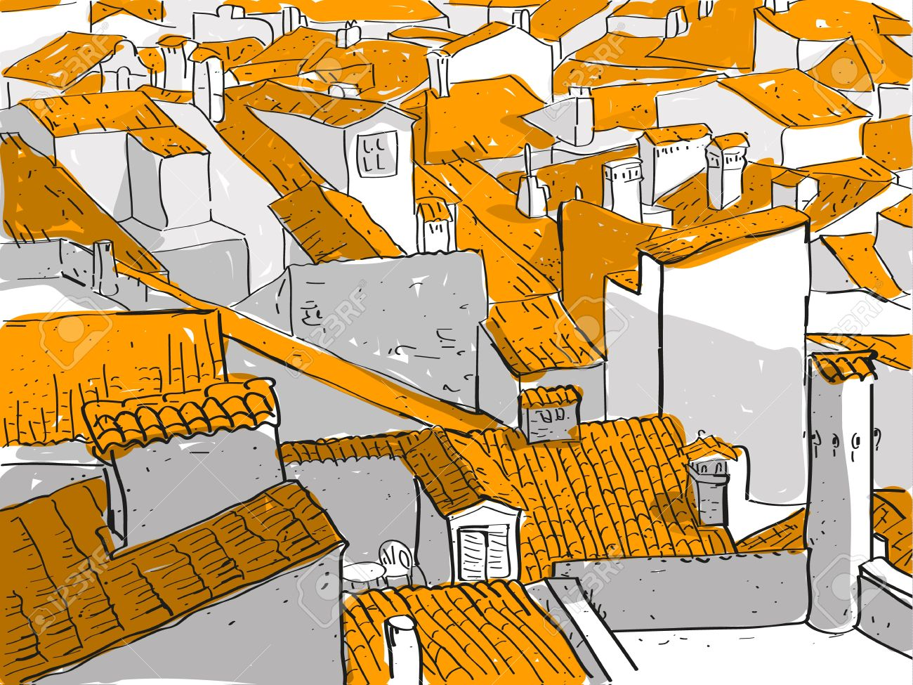 Old City Rooftops Royalty Free Cliparts, Vectors, And Stock.