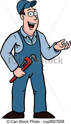 Vector of Plumber with wrench showing something.