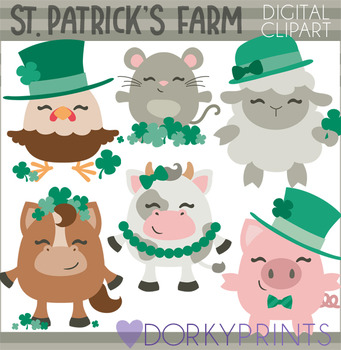 St Patrick's Day Farm Animal Clipart.