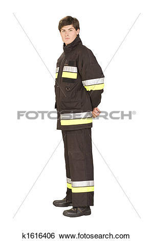Stock Images of Standing fireman in overall with reflective types.