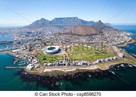 Stock Photography of overall aerial view of Cape Town, South.