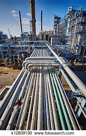 Stock Photography of oil and gas refinery, overall view k12839130.