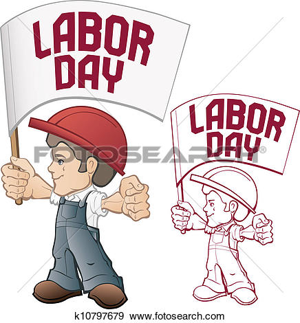 Clip Art of cartoon style worker in bib overall k10797679.