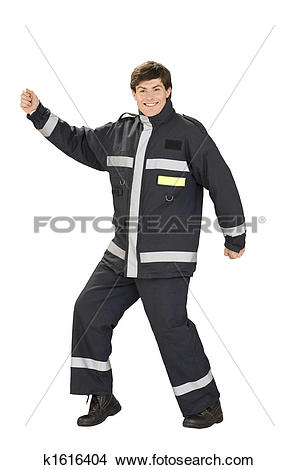 Stock Photo of Dancing fireman in overall k1616404.