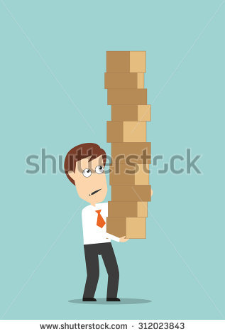 Overburdened Businessman Carrying A High Stack Of Cardboard Boxes.