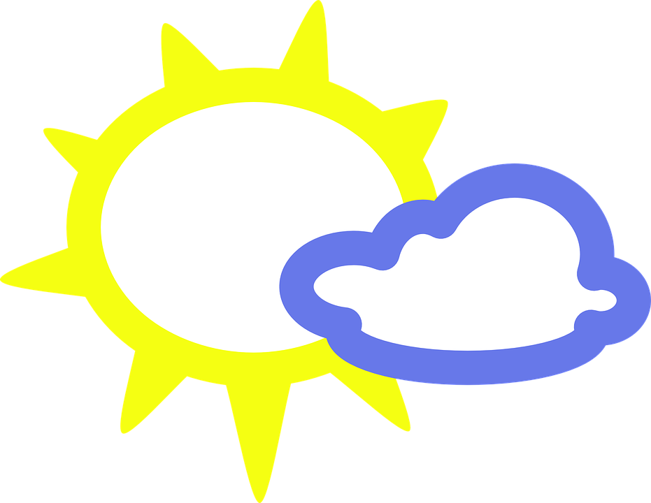 Free vector graphic: Sunny, Cloudy, Sun, Cloud, Overcast.