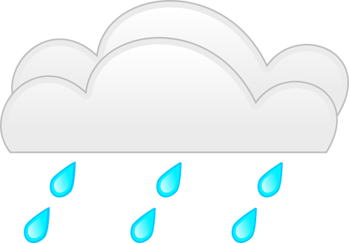 Vector drawing of pastel colored overcloud heavy rain sign.