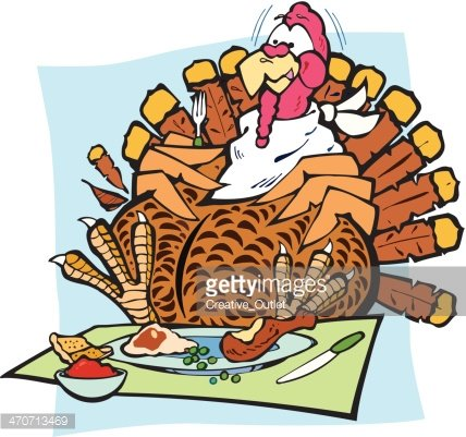 Turkey Overeating C Clipart Image.
