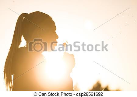 Stock Photographs of overexposed girl in summer.