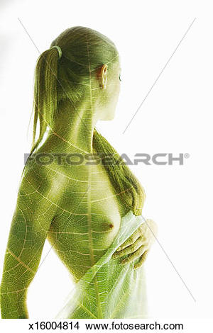 Stock Photo of Leaf overexposed on a woman. x16004814.