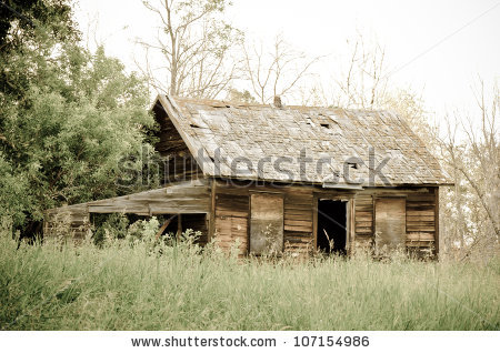 Abandoned Old Farm House In Overgrown Yard Stock Photo 107154986.