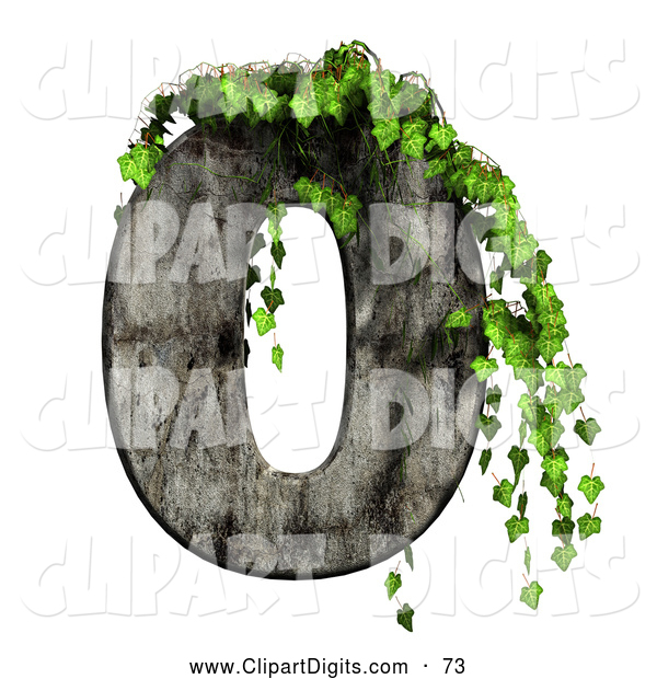Clip Art of a Green Ivy Overgrowing on a Cement Number Zero by.