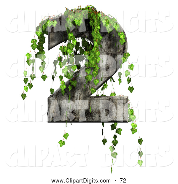 Clip Art of a Green Ivy Overgrowing on a Cement Number Two by.