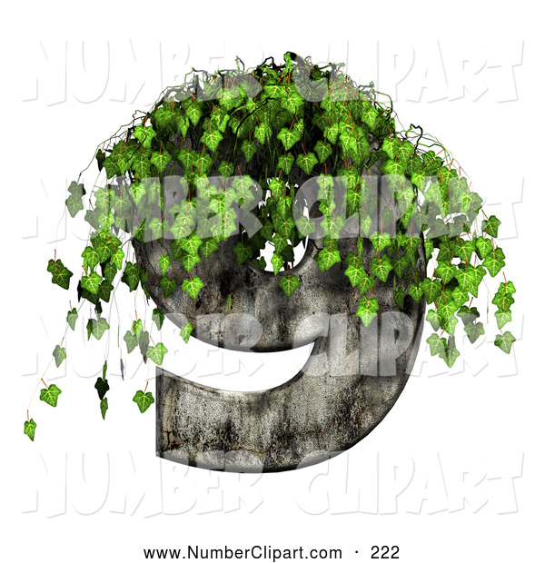 Clip Art of a Green Ivy Overgrowing on a Cement Number Nine by.