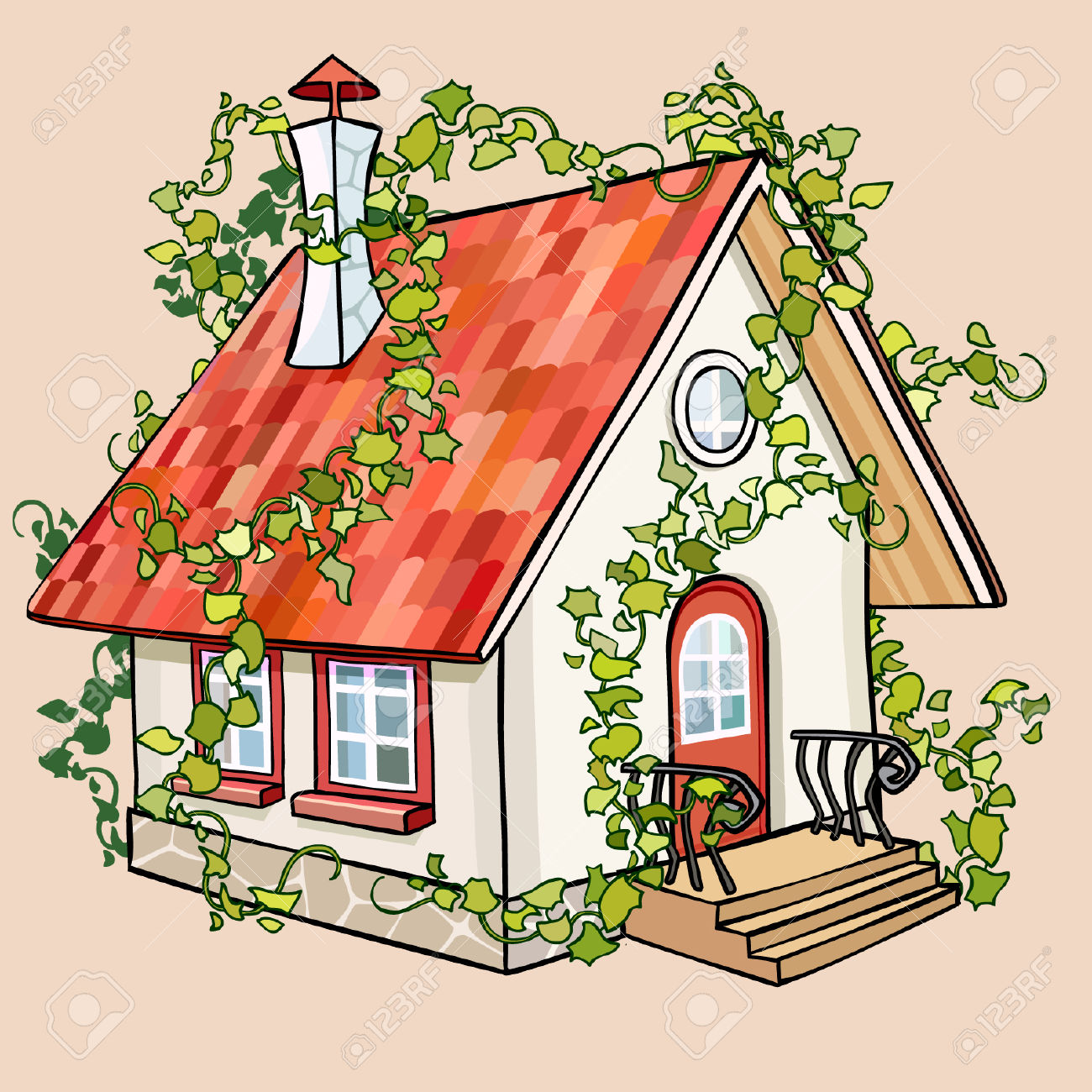 Cartoon Fairy House Overgrown With Ivy Royalty Free Cliparts.
