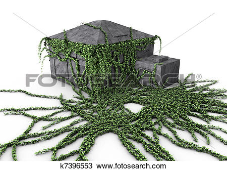 Drawing of House overgrown with ivy k7396553.