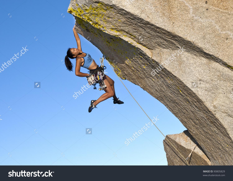 Female Rock Climber Struggles Grip Edge Stock Photo 90805829.